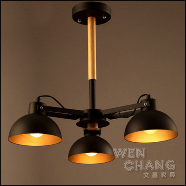 LOFT 工業風 復古 木頭+金屬混搭 達克3燈吸頂燈 三燈頭 固定款 LCE-004-3 *文昌家具* *特價*