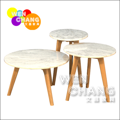 丹麥北歐風 白橡木全實木 大理石桌面 三腳小茶几 邊几 三件套組 TTB009 *文昌家具*