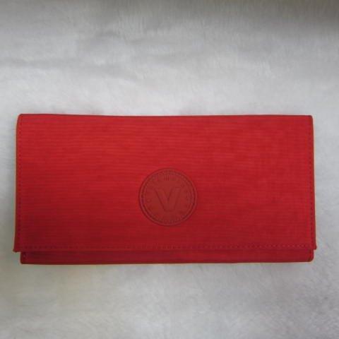 ~雪黛屋~Velamtino 長型女用休閒皮夾進口專櫃防水尼龍布暗釦型三折式大容量設計 A136-023 紅