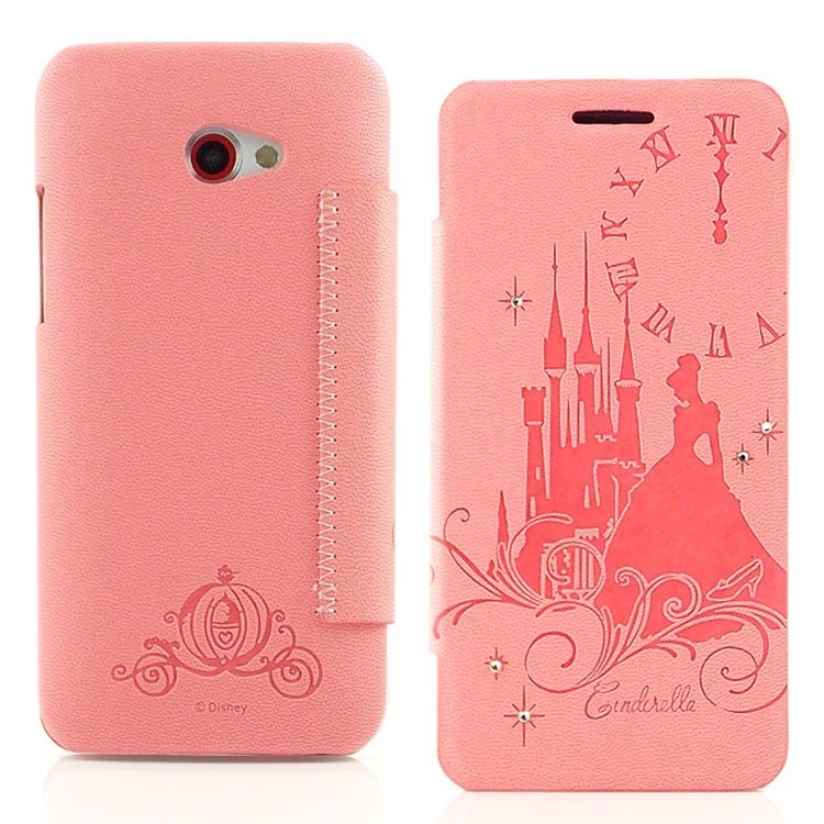 【Disney 】HTC Butterfly S 公主系列Cinderella灰姑娘時尚水鑽壓紋皮套
