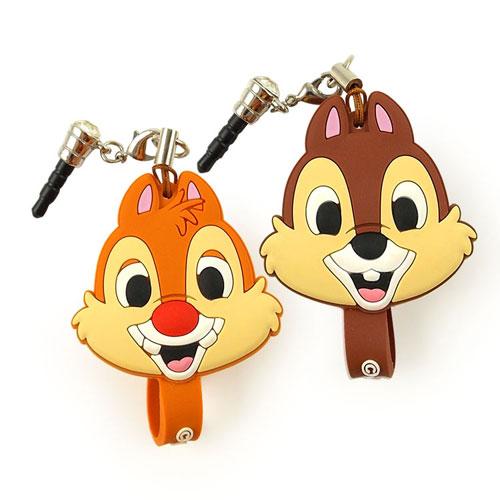 【Disney】 可愛造型耳機防塵塞吊飾捲線器-奇奇/蒂蒂