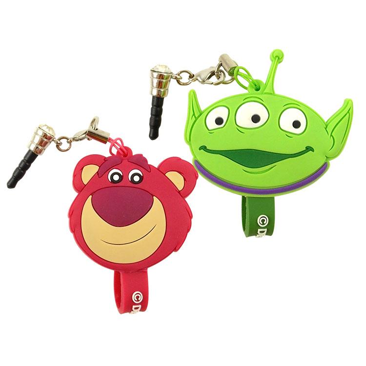 【Disney】 可愛造型耳機防塵塞吊飾捲線器-熊抱哥/三眼怪
