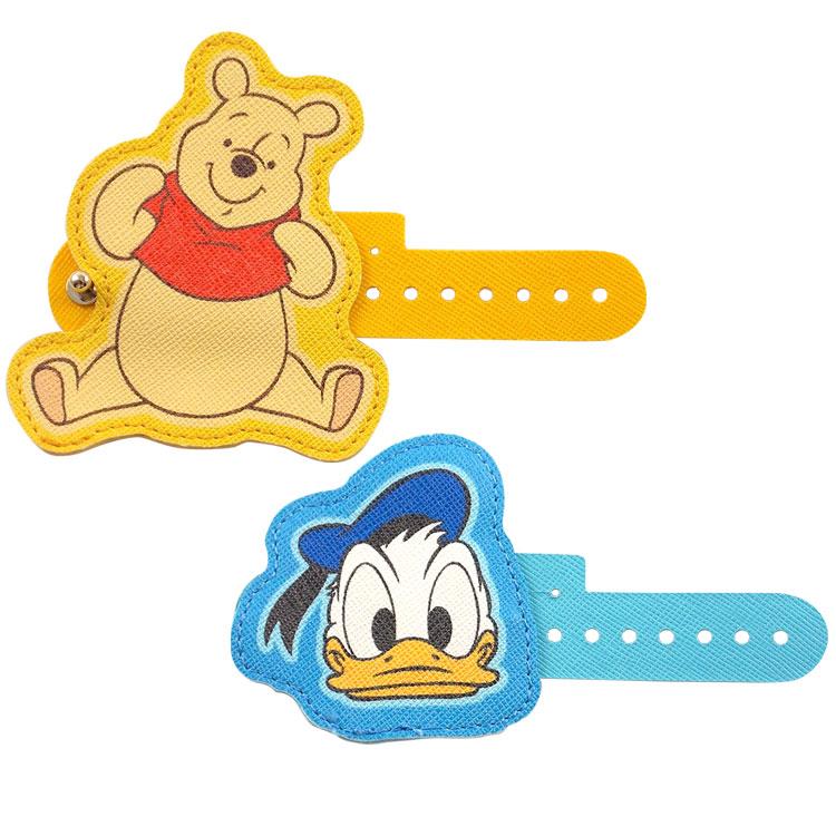 【Disney】 多用途可愛造型皮革捲線器-維尼/唐老鴨