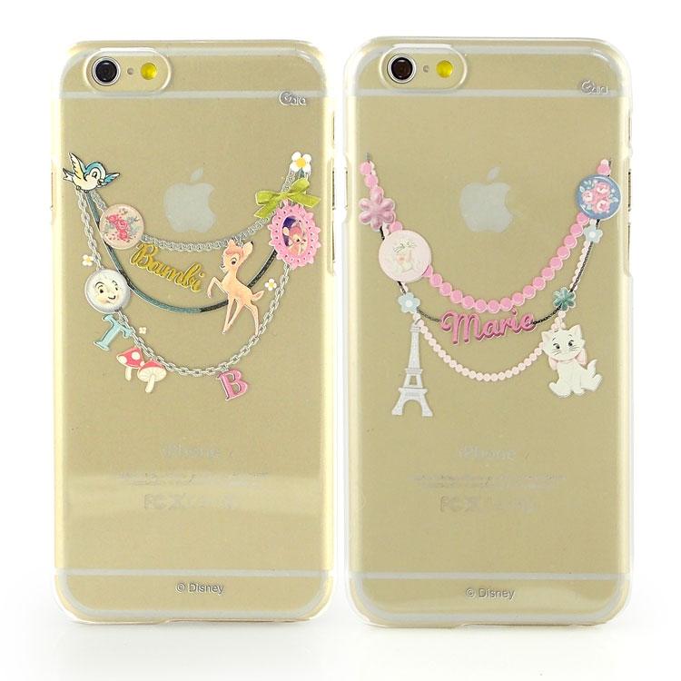 【Disney 】iPhone 6 彩繪現代風透明保護硬殼-手鍊斑比/手鍊瑪麗貓