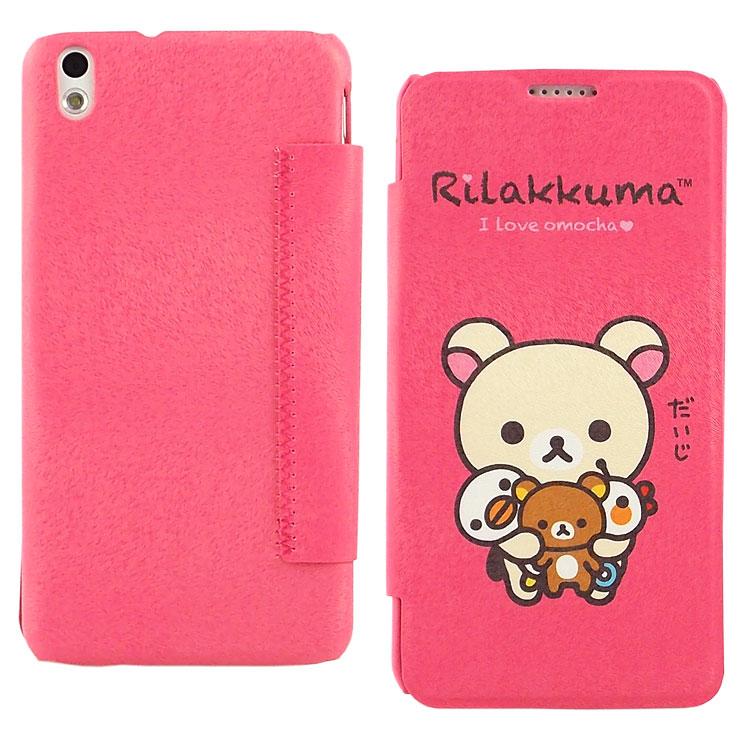 Rilakkuma 拉拉熊/懶懶熊HTC Desire 816 彩繪時尚彩繪皮套-玩偶奶油熊