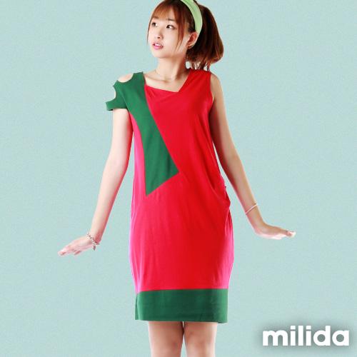 【Milida,全店七折免運】-夏季尾聲-無袖款-露肩造型拼貼洋裝