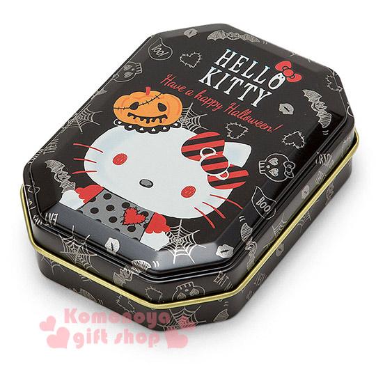 〔小禮堂〕Hello Kitty 日製八角形收納鐵盒《小.黑.南瓜帽.LOGO》2016萬聖節系列