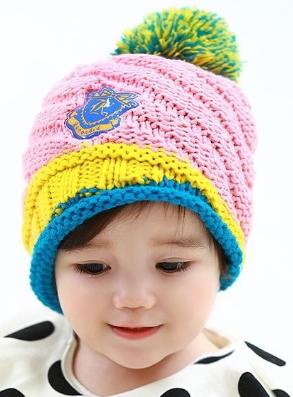 Lemonkid◆秋冬可愛彩色毛球亮眼糖果配色徽章兒童編織毛線帽-粉色