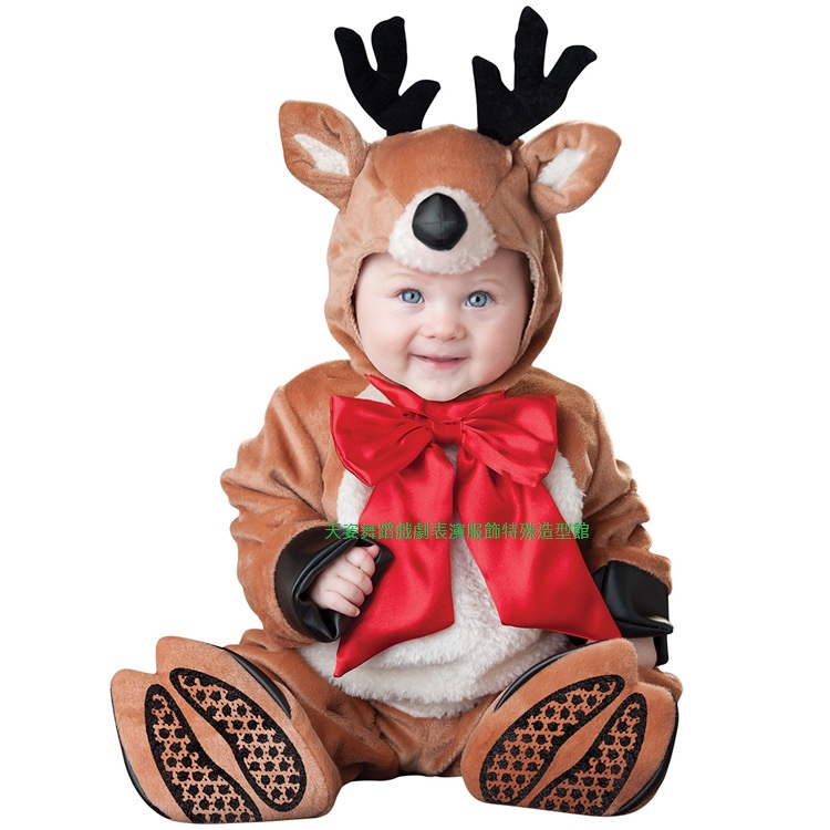BABY001兒童冬裝動物造型衣服聖誕節寶寶外出棉服男女加厚嬰兒連體套裝