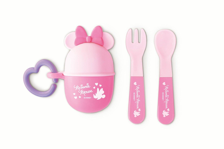 『日本代購品』米妮餐具叉子+湯匙 套組 外出攜帶餐具 附同款掛勾 日本製