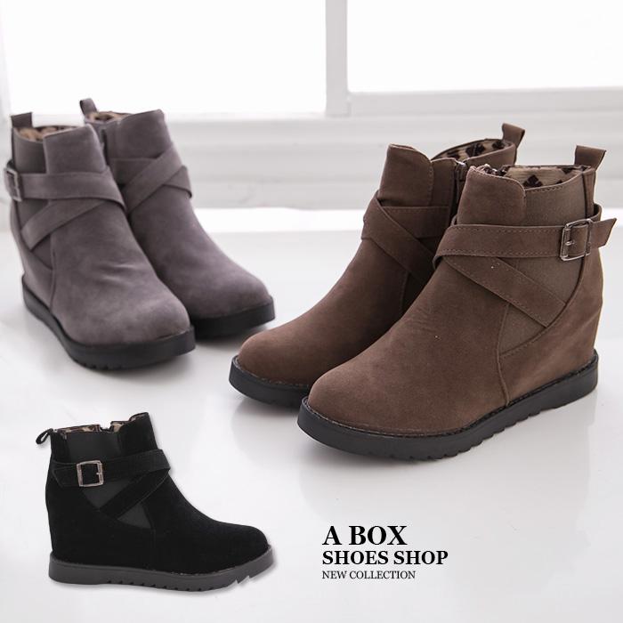 格子舖*【KSB636】時尚韓版經典百搭 麂皮金屬扣環 4CM隱形內增高厚底短筒靴  工程靴 3色