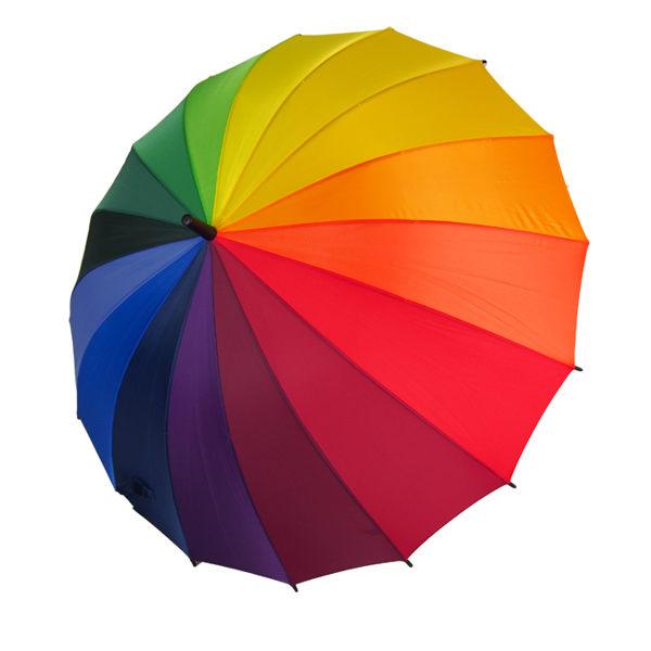 16傘骨彩虹傘 rainbow umbrella 16色漸層唯美注目抗UV傘 手開傘/直骨傘 攝影師道具戶外拍照配件