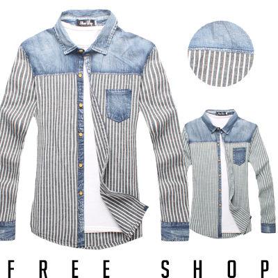 Free Shop【AR20208】韓版丹寧剪接直條口袋長袖襯衫‧二色 現+預