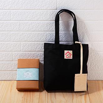 愛慕『率性貼心帆布手提包』-時尚黑(附貼心帆布卡套) /帆布包禮盒