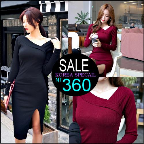 ☆克妹☆現貨+預購【ZT32903】韓國時尚感OL性感斜肩下擺開叉修身連身洋裝