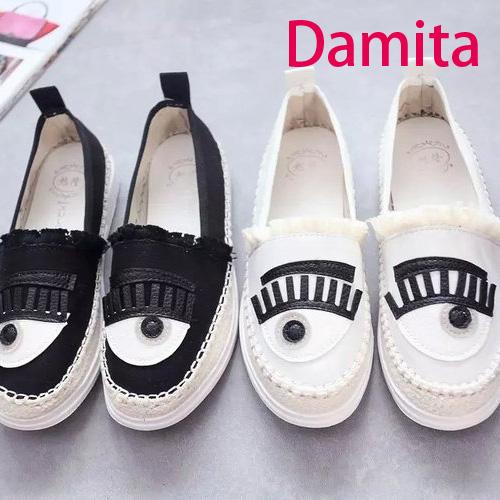 休閒鞋 - Damita 眨眨大眼睛懶人帆布休閒鞋 ( 2色 ) 現+預