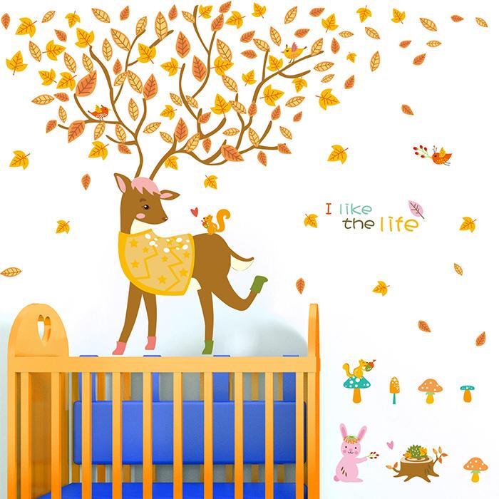 卡通小鹿牆貼 居家裝飾牆壁貼紙【YV6786】快樂生活網