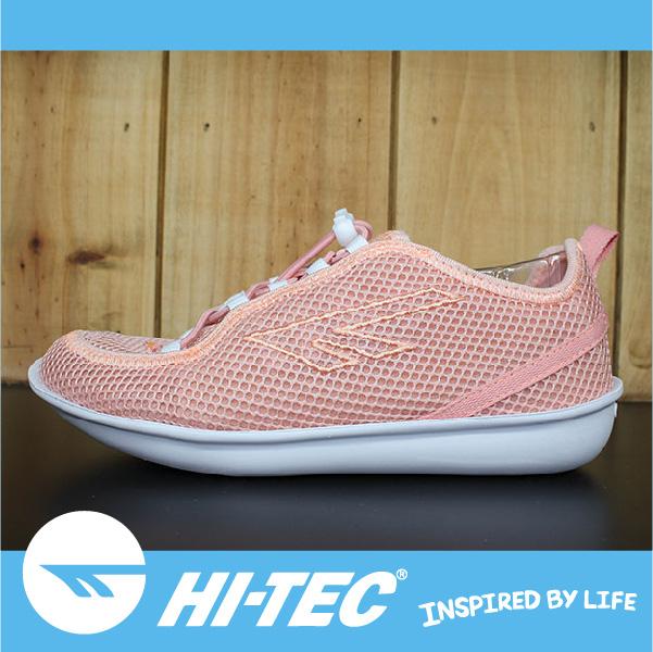 萬特戶外運動 HI-TEC ZUUK 女絲瓜鞋 極輕樂步 旅行必備便鞋 免綁鞋帶 女款 粉橘