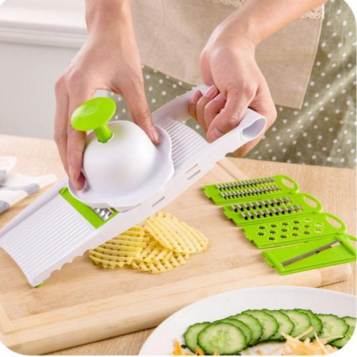糖衣子輕鬆購【DS230】廚房多功能切菜器5件套 切片切絲器 刨絲器 切土豆絲好神器
