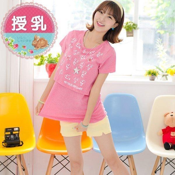 *漂亮小媽咪*可愛小熊卡通印花短袖孕婦哺乳衣哺乳裝哺乳上衣純棉T恤 BQ352