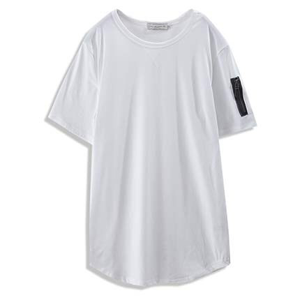 【MODE MAN】MA-1口袋造型下擺圓弧長版短T