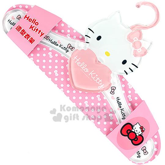 〔小禮堂〕Hello Kitty 造型衣架《粉.大臉.抱愛心》壓克力材質