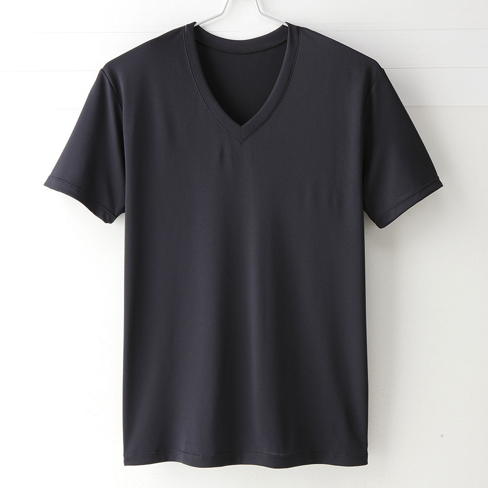 【MIGER密格內衣】型男超快乾吸排機能V領短袖衫。透氣網眼(時尚黑)-台灣製-(編號:30191)