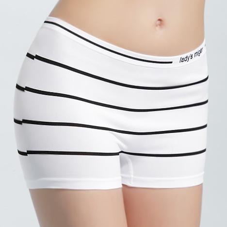 【MIGER密格內衣】無縫基本平口褲-條紋白-台灣製-(編號:SI-06B)