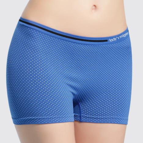 【MIGER密格內衣】無縫基本平口褲-點點藍-台灣製-(編號:SI-07A)