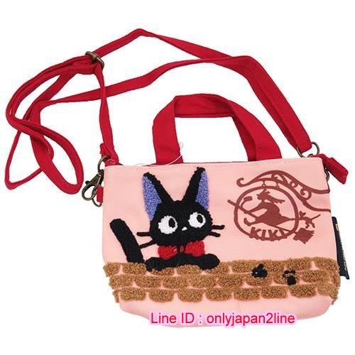 【真愛日本】 16111000006相良刺繡針織數位提包-jiji看板招牌  魔女宅急便 黑貓 奇奇貓  收納包 化妝包 3C收納