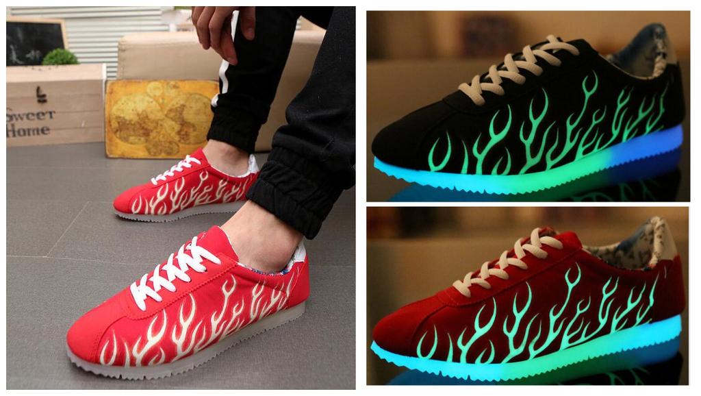 發光鞋led燈鞋usb充電情侶夜光鞋慢跑運動螢光鞋