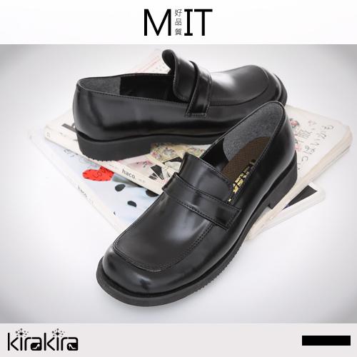 皮鞋-特價優惠-MIT基本款素面方頭低跟學生鞋皮鞋