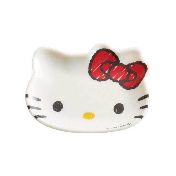 【真愛日本】15020300038造型盤M-大臉紅結塗鴉   三麗鷗 Hello Kitty 凱蒂貓 盤子 碟子 餐具