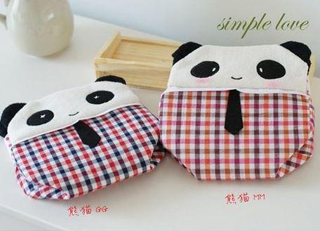 可爱布藝長方形熊貓纸巾抽 貓咪纸巾盒 汽車用品 不挑款   39元