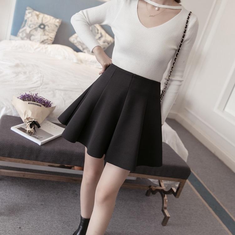 PS Mall 高腰短裙女半身裙百褶裙蓬蓬裙太空棉傘裙【T4201】