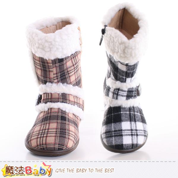 兒童雪靴 經典格紋童鞋 魔法Baby~sh9581