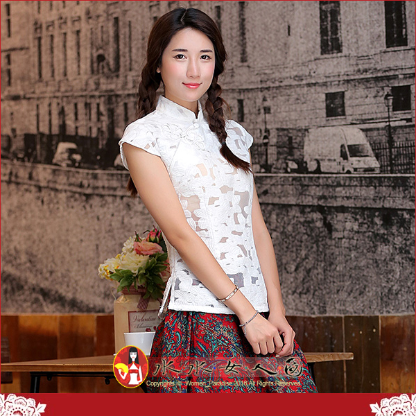【水水女人國】~中國風美穿在身~花瓣語。復古手工鴛鴦花扣錦棉改良短袖旗袍式唐裝上衣