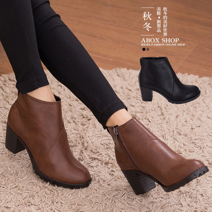 格子舖*【KW2199】MIT台灣製 英倫學院簡約皮革側拉鍊穿脫設計 7cm高跟粗跟騎士短靴踝靴 2色