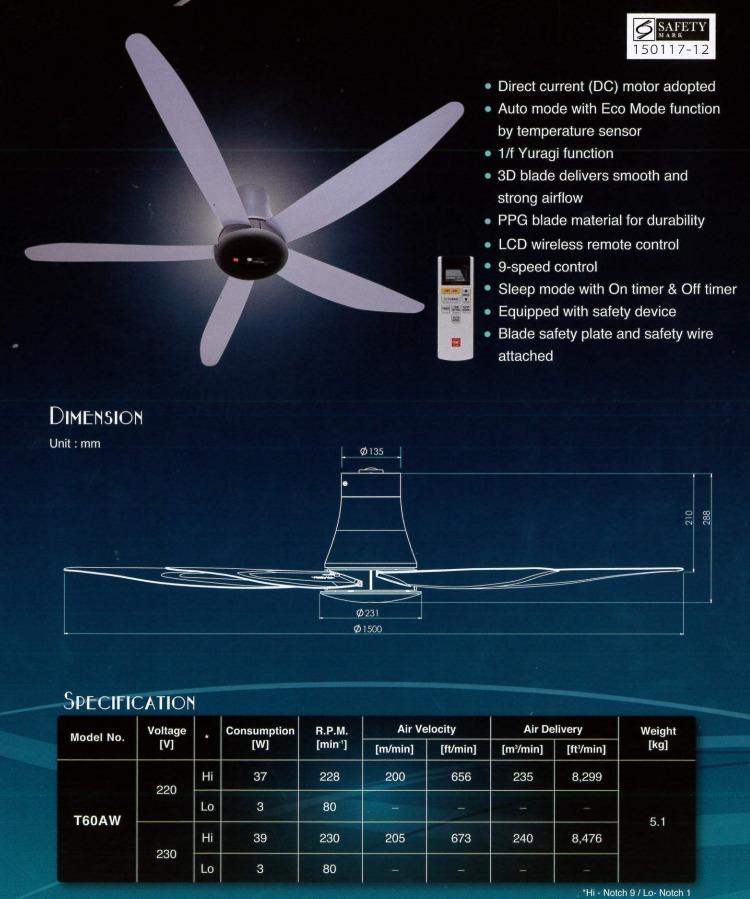 Kdk Dc Motor Ceiling Fan T60aw Silver Mega Discount Store