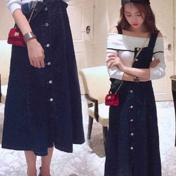 PS Mall 韓版復古牛仔吊帶裙 牛仔裙 裙子 連衣裙【T085】
