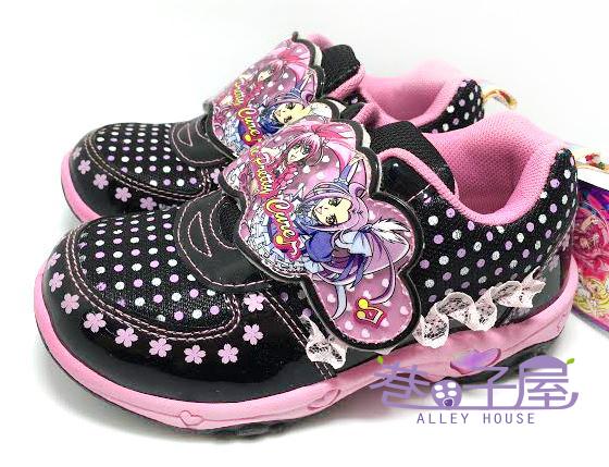 【巷子屋】光之美少女 美樂天使 女童蕾絲點點造型電燈運動休閒鞋 [37310] 黑粉 MIT台灣製造 超值價$198