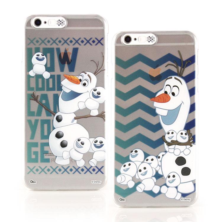 【Disney 】iPhone 6 Plus/6s Plus冰雪奇緣來電發光透明保護硬殼-雪寶