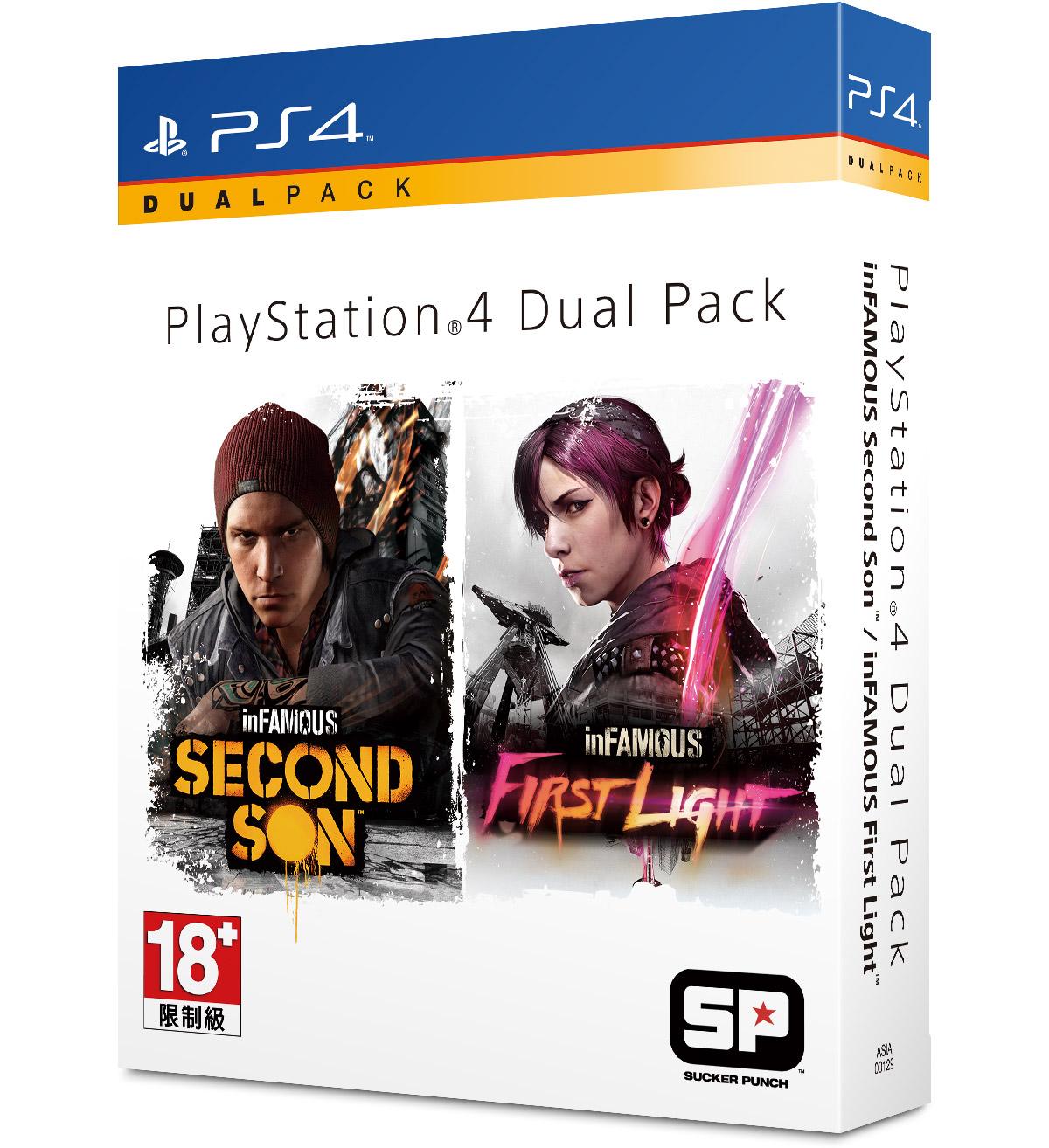現貨供應中 亞洲中文版  [限制級] PS4 惡名昭彰:第二之子 + 首道曙光 雙重包