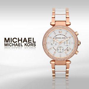 美國Outlet 正品代購 MichaelKors MK 時尚 玫瑰金 鑲鑽 三環計時手錶腕錶 MK5774