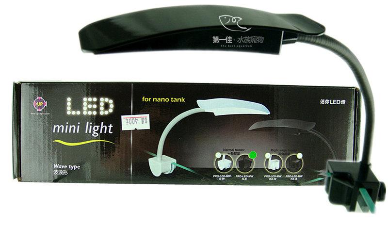 [第一佳 水族寵物] 台灣雅柏UP Mini-Light LED 波浪造型夾燈 全白燈 [直角夾 (4燈) -黑 ]