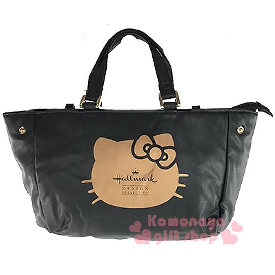 〔小禮堂〕Hello Kitty x Hallmark 2way皮革手提包《小.黑.大臉.附可拆式背帶》