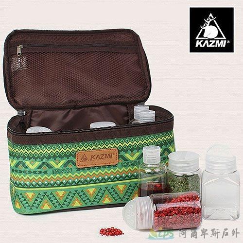 [阿爾卑斯戶外/露營] 土城 KAZMI 經典民族風調味料收納袋(L)-綠色 K5T3K002GN
