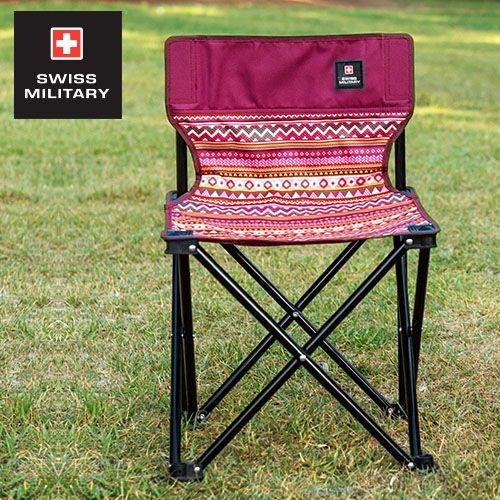 SWISS MILITARY民族風輕巧折疊椅-酒紅 KAZMI S6T3C002WI [阿爾卑斯戶外/露營] 土城