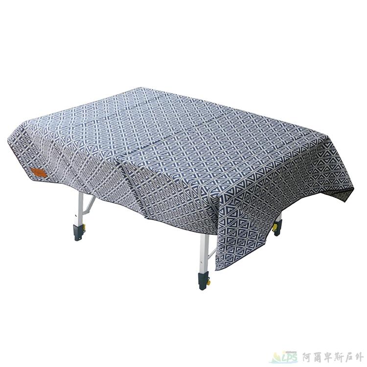 OutdoorBase漾彩防水桌布160x140cm(藍色三角) 露營/海灘墊/戶外野餐/蛋捲桌桌布 26022 [阿爾卑斯戶外/露營] 土城