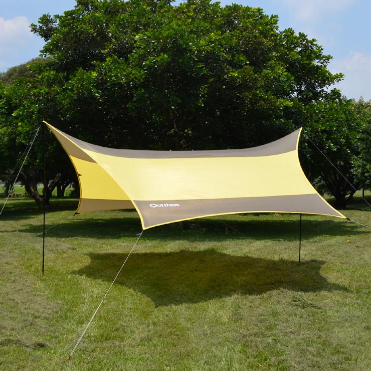 好野 Outthere蝶型天幕帳(大590 x 480cm )-棕色-整套含柱繩釘AW00210 [阿爾卑斯戶外/露營] 土城